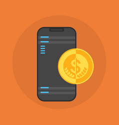 Cell smart phone with coin contactless mobile vector