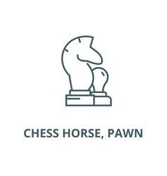 chess horse pawn line icon chess horse vector image