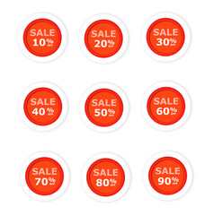 circular paper labels red discount vector image