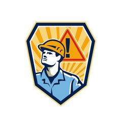 Contractor Construction Worker Caution Sign Retro vector