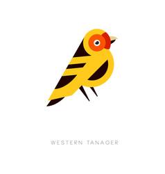 creative geometric icon western tanager bird vector image