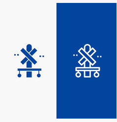 cross sign station train line and glyph solid vector image