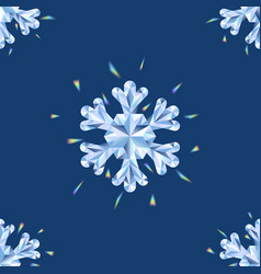 crystal snowflakes seamless pattern winter vector image