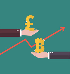 currency exchange pound sterling and bitcoin vector image