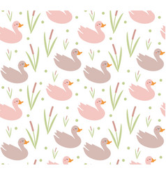 cute ducks seamless pattern endless texture vector image