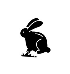 cute easter bunny black icon sign on vector image