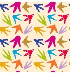 Dinosaur footprints seamless pattern vector