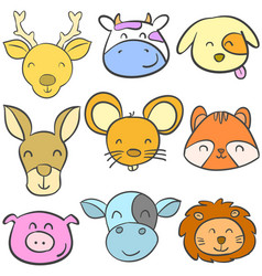 Doodle animal cute funny colorful vector