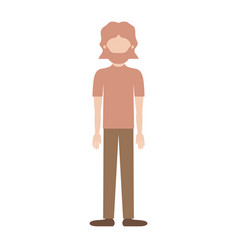 faceless man full body with t-shirt and pants and vector image