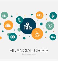 Financial crisis trendy circle template vector