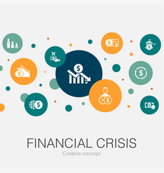 Financial crisis trendy circle template with vector