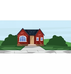 flat style red one floor house vector image