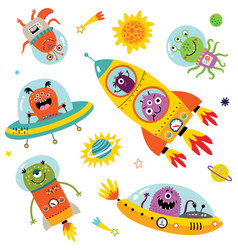 funny monsters in space for c vector image