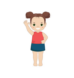 girl waving her hand girl waving her hand vector image