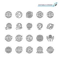 Globe line icons editable stroke pixel perfect vector