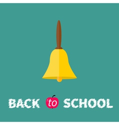 Gold bell with handle Back to school chalk text vector image