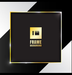 gold shiny square frame on black and white vector image