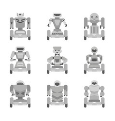 gray robots collection vector image