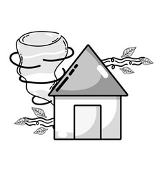 Grayscale house with twister and wind leaves vector