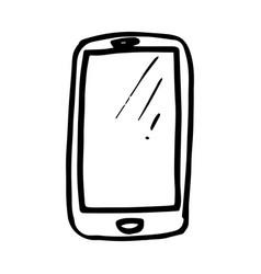 hand drawn smartphone symbol doodle icon vector image