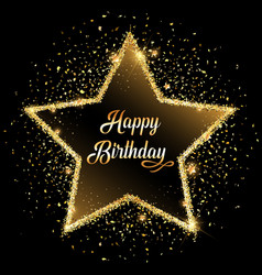 Happy birthday gold glitter star background vector