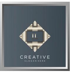 il initial shiny 3d metallic silver logo monogram vector image