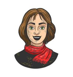 joyful young woman girl sketch vector image