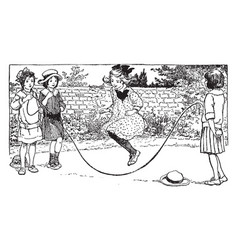 jumping rope vintage vector image