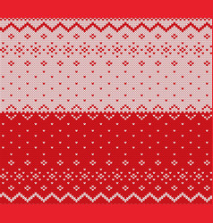knit christmas design xmas seamless pattern red vector image