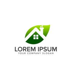 leaf house real estate logo design concept vector image