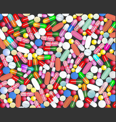 medical background with pills and capsules pills vector image