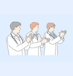 Medicine applause team congratulation success vector