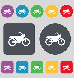 Motorbike icon sign a set of 12 colored buttons vector