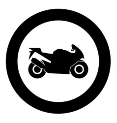 Motorcycle black icon in circle isolated vector
