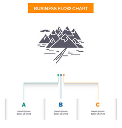 mountain hill landscape rocks crack business flow vector image