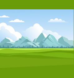 Mountains background outdoor green meadows with vector
