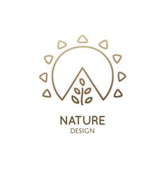 Nature linear logo landscape vector