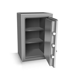 Open safe deposit 3d vector