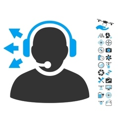 Operator Answer Speech Icon With Copter Tools vector