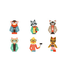 people with animal heads set mammal vector image