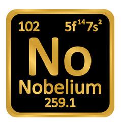 Periodic table element nobelium icon vector