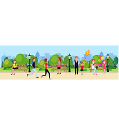public park people active relax sitting wooden vector image