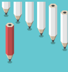 red unique pencil opposition vector image