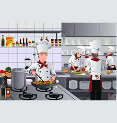Scene inside restaurant kitchen vector
