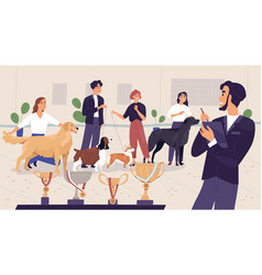 Scene with happy pet owners and dogs waiting vector