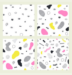 set abstract seamless patterns 80 s-90 s styles vector image