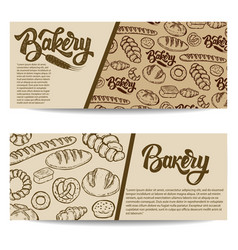 Set bakery banner templates isolated on white vector