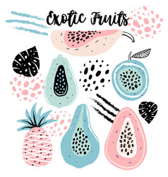 set creative modern fruits hand drawn trendy vector image