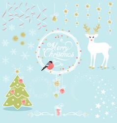 set of christmas decorative elements vector image