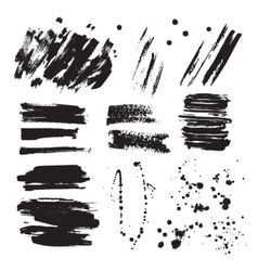 Set of ink black blots and splashes vector